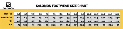 shoe size chart salomon unisex salomon s lab xa alpine trail running shoe
