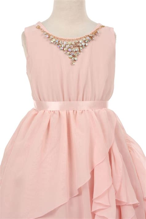 blush pink flower girl dress in blush pink chiffon size 2 14