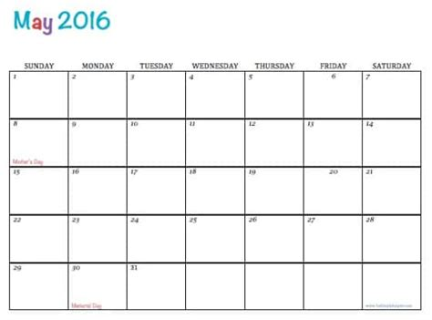 printable calendar template may 2016 free printable calendar may 2016