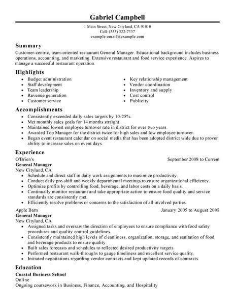 restaurant general manager resume sle best restaurant bar general manager resume exle livecareer