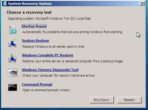 windows 7 system recovery options startup repair