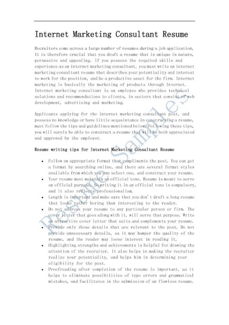 resume sles marketing consultant resume