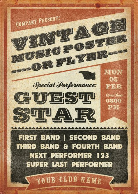 vintage music flyer flyer templates on creative market