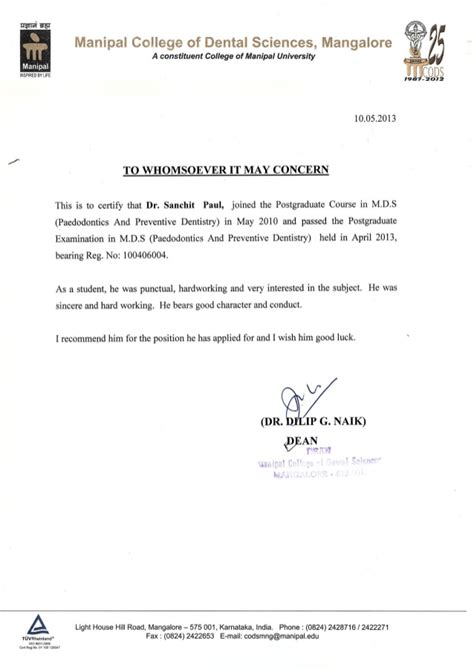 Recommendation Letter Dental School Letter Of Recommendation From Dean Manipal College Of Dental Science