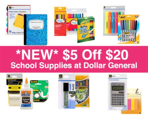 1 dollar supplies 5 20 on school supplies at dollar general