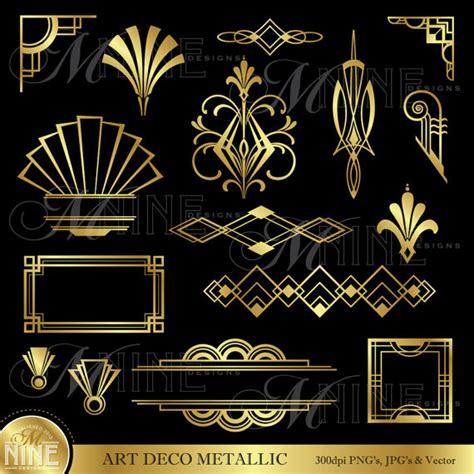 theme line vintage art deco clip art gold art deco accents design