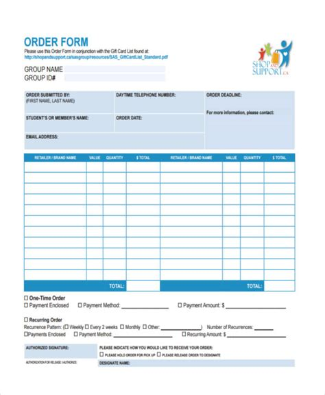 Gift Card School Fundraiser - 7 fundraiser order form free documents in word pdf