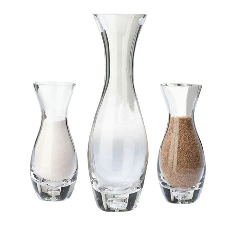 set of 3 wedding ceremony glass unity sand vase with tag