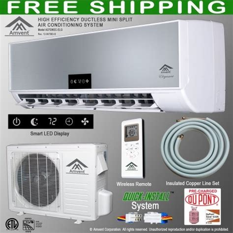 ductless room air conditioner amvent 12000 btu 1 ton ductless wall mount mini split room air conditioner ac conditioning