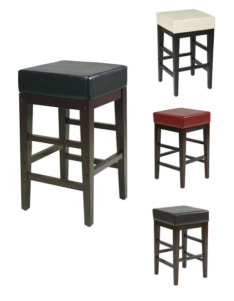 bar stool leather seat 25h seat faux leather seat wood legs bar breakfast counter