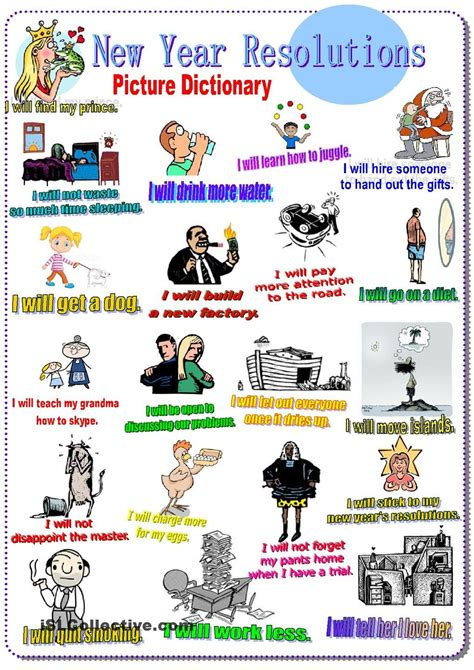 new year picture dictionary new year resolutions picture dictionary future tense