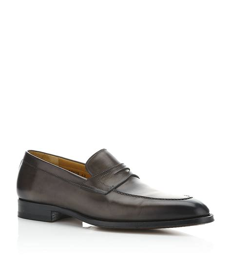 grey loafers for saks fifth avenue leather loafer in gray for lyst
