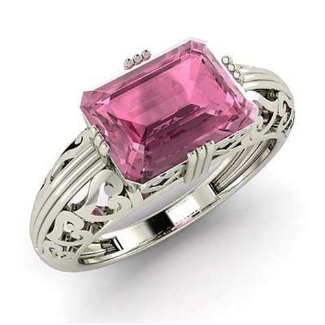 emerald cut pink tourmaline vintage inspired ring