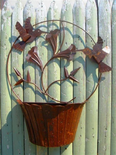 wrought iron tin hummingbird wall flower basket planter