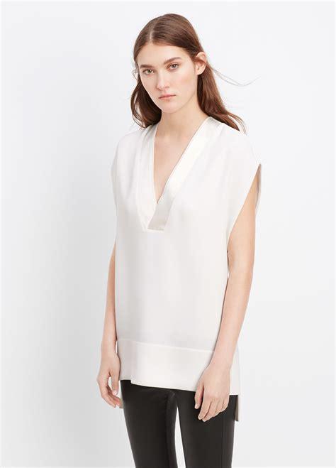 White Silk Blouse V Neck by Vince Satin Trim V Neck Blouse In White White Lyst