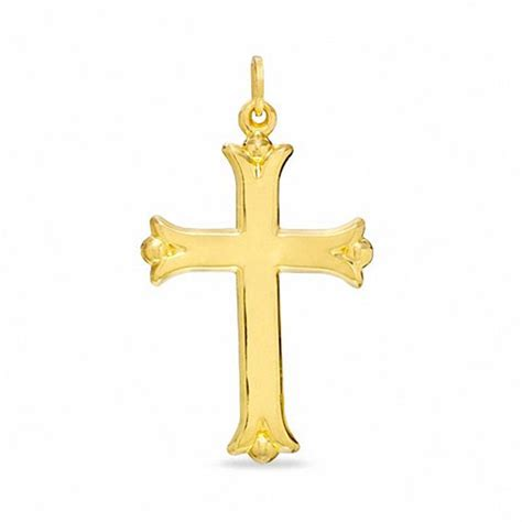 Plain Flare polished plain flare cross in 14k gold view all jewelry