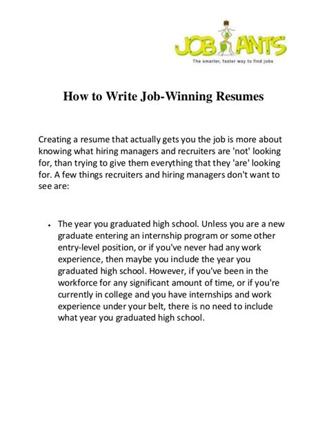 how to write winning resumes