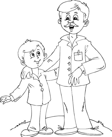 father and son coloring page coloring com