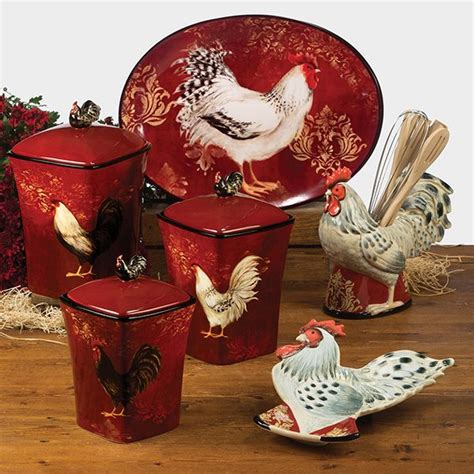 kitchen utensil canister red black and white rooster dishes details about avignon