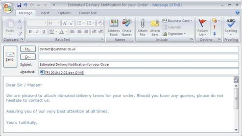 Sending Purchase Order Email Letter Back Order Management System