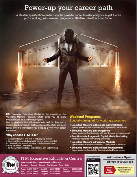 Itm Executive Mba by Itm Executive Education Center Power Up Your Career Path