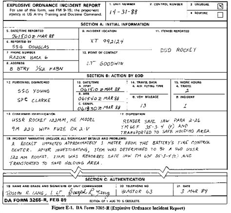 army serious incident report template fm 9 15 explosive ordnance disposal service and unit