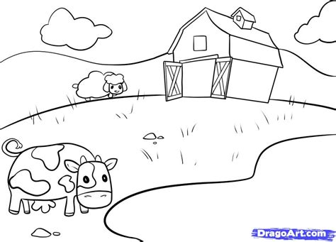 how to a farm how to draw a farm step by step buildings landmarks places free drawing