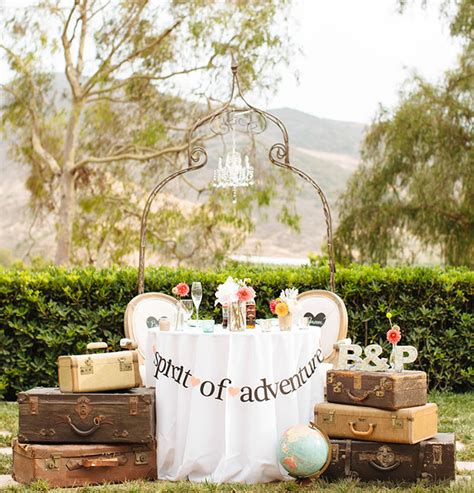 themed wedding decor vintage travel themed wedding green