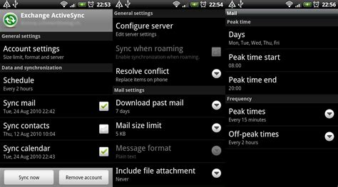 settings for android rigelt exchange activesync on android phones desire froyo