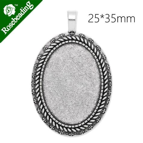 blank pendants for jewelry 25x35mm oval antique silver plated pendant tray pendant