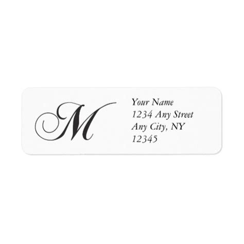 Monogram M Return Address Labels Zazzle Monogram Return Address Label Template