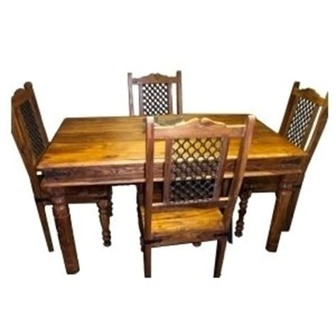 indian furniture thakat dining table with 4 jali chairs