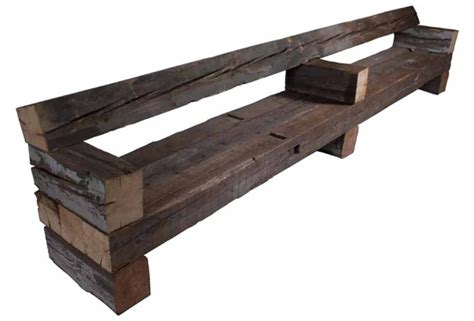 wood beam bench piet hein eek reclaims old beams to create rustic yet