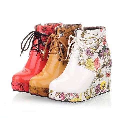 flower pattern boots high heels sexy boots fashion round flower pattern sexy