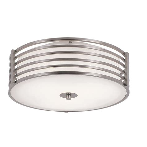 Hton Bay 16 Inch Nickel Wrapped Flush Mount Indoor Home Depot Flush Ceiling Lights