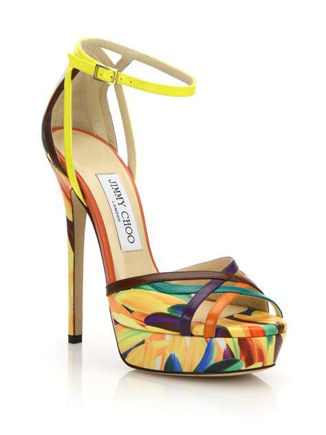 lyst jimmy choo laurita feather print leather platform sandals  yellow