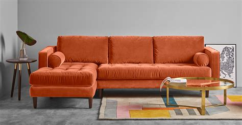 orange sofa scott 4 seater left hand facing chaise end sofa burnt