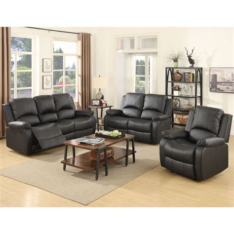 Living Room Sofas And Chairs 3 Set Sofa Loveseat Chaise Recliner Leather Living Room Furniture In Black Ebay