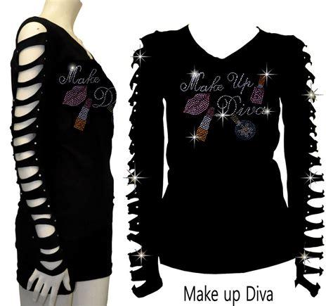 design a shirt with bling bling bling make up diva rhinestone t shirt ripped slit