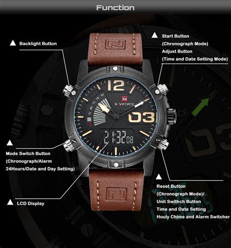 Naviforce 9095 Original 1 naviforce 9095 fashion sports casual leather band sports dual movement wristwatch at