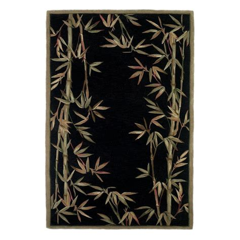 black floral area rugs shop kas rugs floral trends rectangular black floral tufted wool area rug common 8 ft x 10 ft
