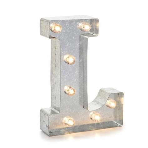 Battery Operated L Post by Darice 02823 Galvanized Silver Lighted Letter Symbol