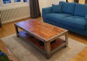 table basse de salon en zinc et bois vieillis mobilier