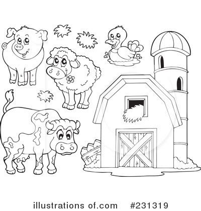 farm animal drawings cliparts co free printable coloring farm animals clipart 231319 illustration by visekart