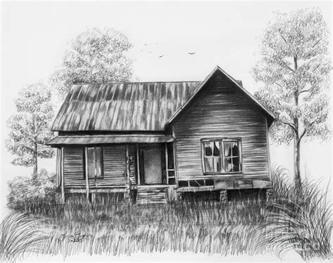 drawing houses abandoned house drawing by lena auxier