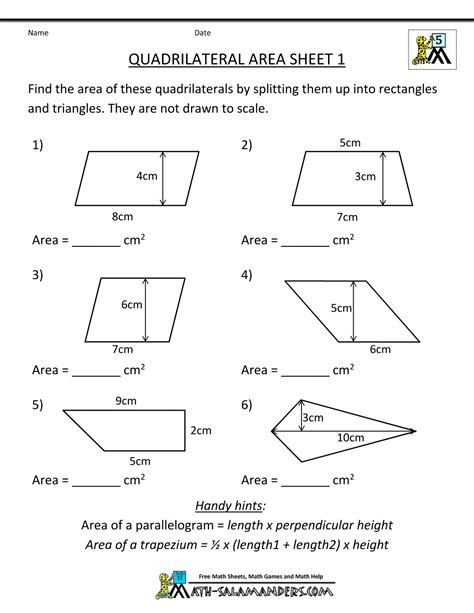 area printable sheets math practice worksheets