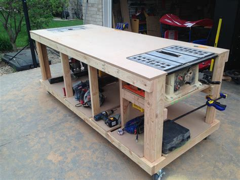 table saw bench plans building your own wooden workbench make