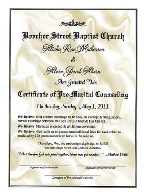 premarital counseling certificate of completion template free wedding renuel certificate templates
