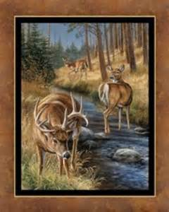 Wildlife Fabric For Quilting by Deer Stoney Brook Wall Hanging Quilt Top Panel Fabric