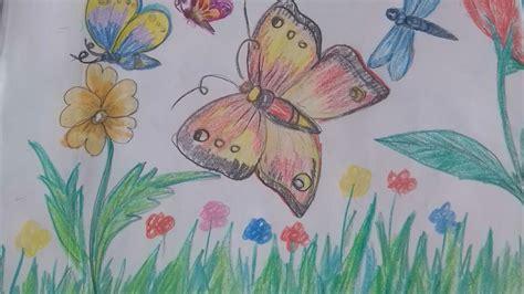 draw beautiful butterflies   garden youtube
